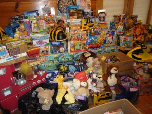 Toys collected through the toy drive at Jaxon's Celebration of Life - distributed to 4 hospitals.